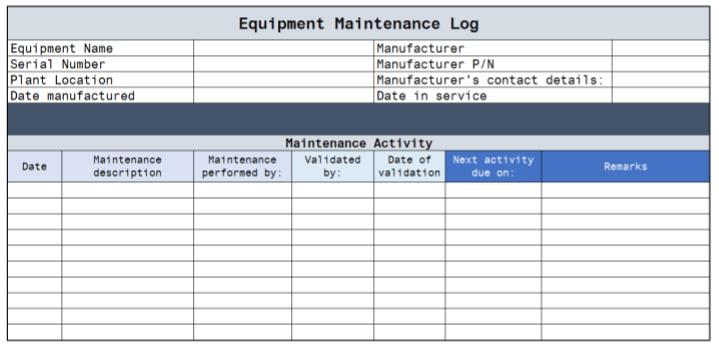 Equipment Maintenance Log Template Benefits Upkeep